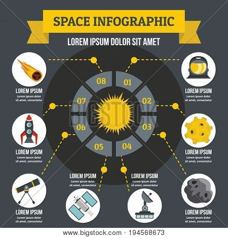Space infographic banner concept. Flat illustration of space infographic vector poster concept for web