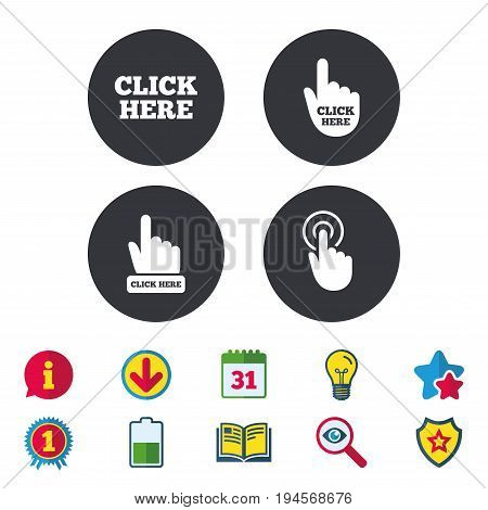 Click here icons. Hand cursor signs. Press here symbols. Calendar, Information and Download signs. Stars, Award and Book icons. Light bulb, Shield and Search. Vector