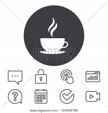 Coffee cup sign icon. Hot coffee button. Hot tea drink with steam. Calendar, Locker and Speech bubble line signs. Video camera, Statistics and Question icons. Vector