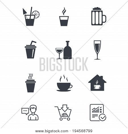 Tea, coffee and beer icons. Beer, wine and cocktail signs. Take away drinks. Customer service, Shopping cart and Report line signs. Online shopping and Statistics. Vector