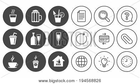 Cocktail, beer icons. Coffee and tea drinks. Soft and alcohol drinks symbols. Document, Globe and Clock line signs. Lamp, Magnifier and Paper clip icons. Question, Credit card and Refresh. Vector