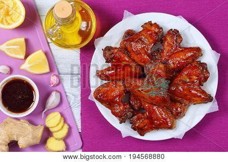 Honey Ginger Chicken Wings On Plate