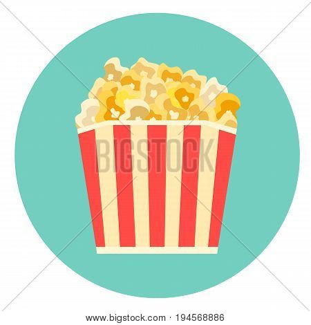 Flat vector colorful striped box of tasty caramelized or cheese popcorn icon. Movie cinema corn symbol.