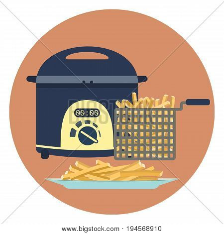 Flat vector colorful fryer with plate of hot tasty french fries symbol. Fastfood cooking symbol. Kitchen equipment