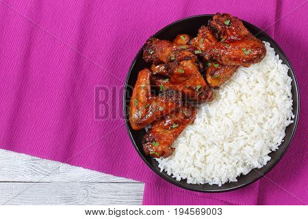 Basmati Rice With Glazed Chicken Wings