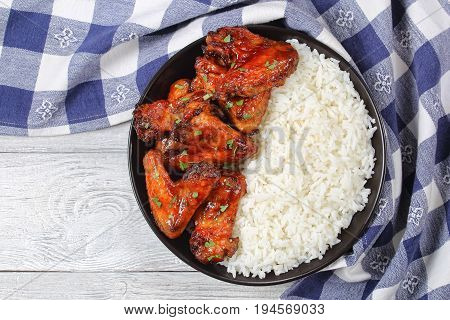 Rice With Delicious Glazed Chicken Wings