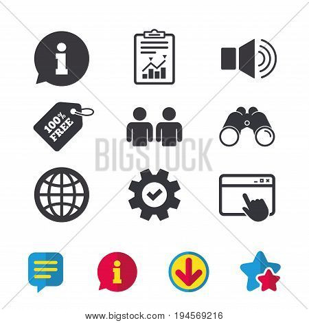 Information sign. Group of people and speaker volume symbols. Internet globe sign. Communication icons. Browser window, Report and Service signs. Binoculars, Information and Download icons. Vector