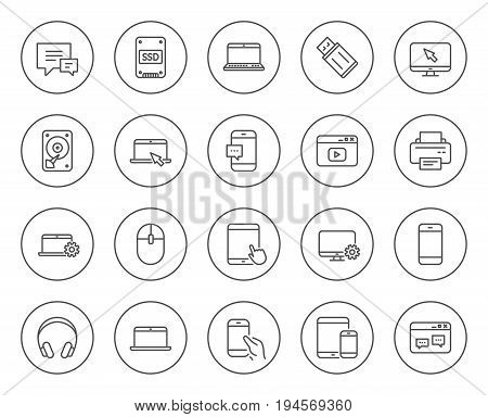 Mobile Devices line icons. Set of Laptop, Tablet PC and Smartphone signs. HDD, SSD and Flash drives. Headphones, Printer and Mouse symbols. Chat speech bubbles. Circle buttons with linear elements