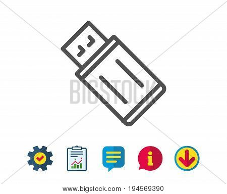 USB flash drive line icon. Memory stick sign. Portable data storage symbol. Report, Service and Information line signs. Download, Speech bubble icons. Editable stroke. Vector