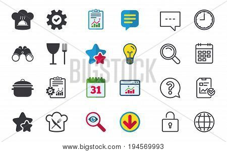 Chief hat and cooking pan icons. Crosswise fork and knife signs. Boil or stew food symbols. Chat, Report and Calendar signs. Stars, Statistics and Download icons. Question, Clock and Globe. Vector