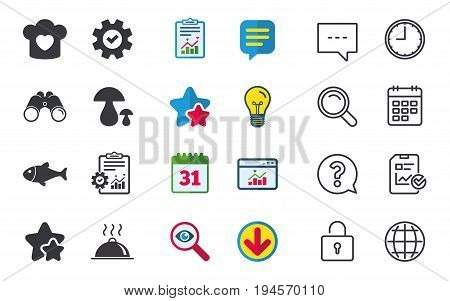 Chief hat with heart and cooking pan icons. Fish and boletus mushrooms signs. Hot food platter serving symbol. Chat, Report and Calendar signs. Stars, Statistics and Download icons. Vector