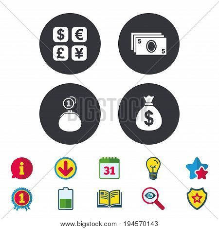 Currency exchange icon. Cash money bag and wallet with coins signs. Dollar, euro, pound, yen symbols. Calendar, Information and Download signs. Stars, Award and Book icons. Vector