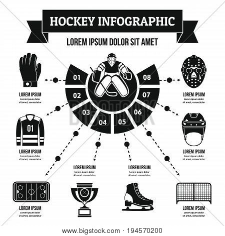 Hockey infographic banner concept. Simple illustration of hockey infographic vector poster concept for web