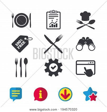 Plate dish with forks and knifes icons. Chief hat sign. Crosswise cutlery symbol. Dining etiquette. Browser window, Report and Service signs. Binoculars, Information and Download icons. Stars and Chat