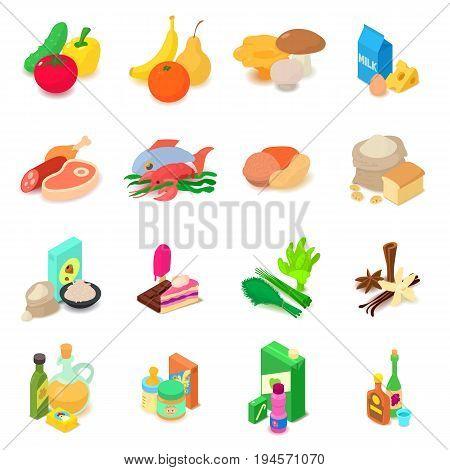 Shop navigation foods icons set. Isometric illustration of 16 shop navigation foods vector icons for web