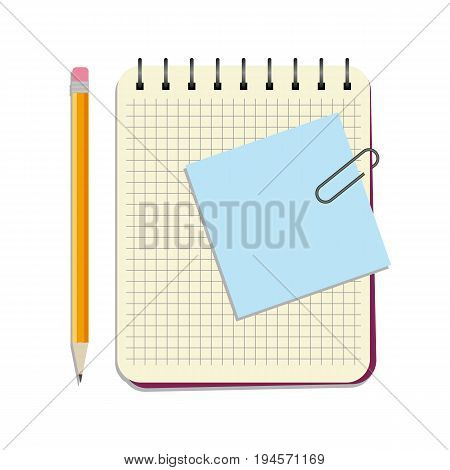 Notebook with blue notice paper and yellow pencil on a white background