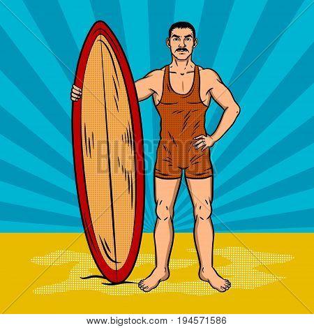 Old fashioned surfer pop art retro vector illustration. Comic book style imitation.