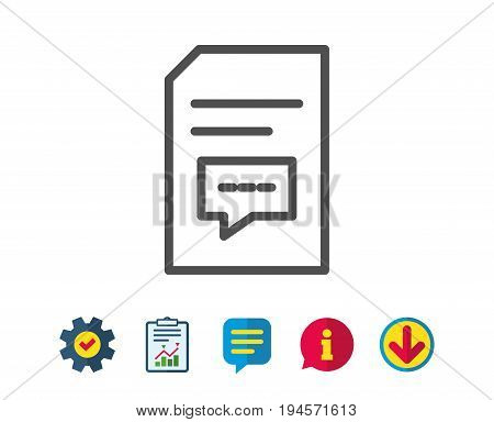 Document with Comments line icon. Information File with Speech bubble sign. Paper page concept symbol. Report, Service and Information line signs. Download, Speech bubble icons. Editable stroke