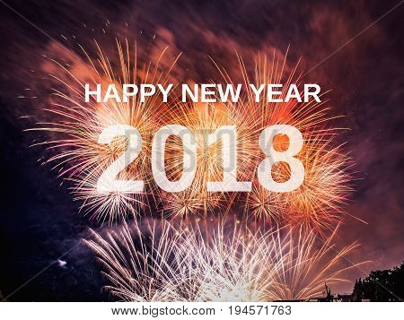 Happy new year 2018 with fireworks background. Celebration New Year 2018