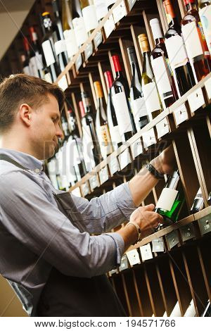 Thoughtful expert in winemaking on background of shelves with wine. Young sommelier holding bottle of wine in cellar, reading information on sticker about drink. T