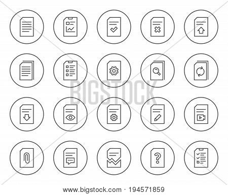 Document Management line icons. Set of Report, Checklist and Copy signs. Download file, Remove and Attach clip symbols. Search, Edit and Corrupt file. Circle buttons with linear elements. Vector