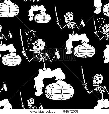 Seamless Wallpaper, Cartoon Evil Zombie Pirate Jolly Roger Skeleton with a Sword, Bottle of Wine and Barrel, White Silhouettes Isolated on Black Background. Vector