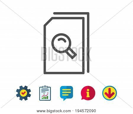 Search Documents line icon. File with Magnifying glass sign. Paper page concept symbol. Report, Service and Information line signs. Download, Speech bubble icons. Editable stroke. Vector