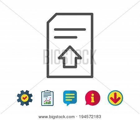 Upload Document line icon. Information File sign. Paper page concept symbol. Report, Service and Information line signs. Download, Speech bubble icons. Editable stroke. Vector