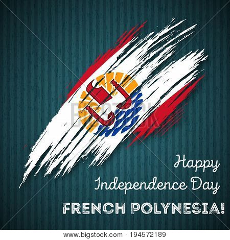 French Polynesia Independence Day Patriotic Design. Expressive Brush Stroke In National Flag Colors
