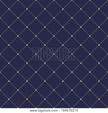 Geometric dotted vector dark blue and golden pattern. Seamless abstract modern texture for wallpapers and backgrounds