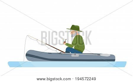 An elderly fisherman is fishing in the middle of the river, in a rubber boat, resting, spending free time. Illustration isolated in cartoon style.