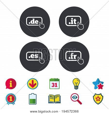 Top-level internet domain icons. De, It, Es and Fr symbols with hand pointer. Unique national DNS names. Calendar, Information and Download signs. Stars, Award and Book icons. Vector