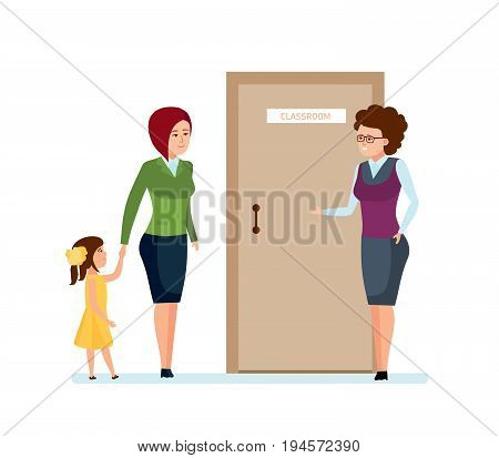 Modern education in school. Mom and daughter came for first time to school teacher, get for education in school. Parent meeting with teacher in classroom. Illustration isolated in cartoon style.