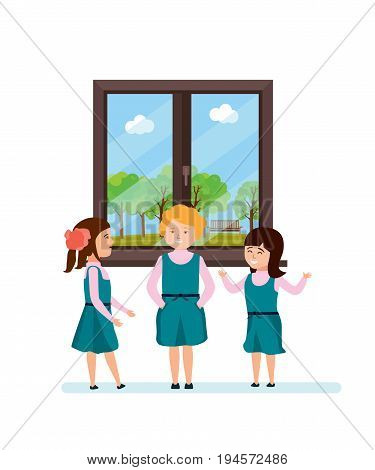 Modern education in school. Girl meeting with her classmates, talking, having fun, telling interesting funny stories, near the school window. Vector illustration isolated in cartoon style.