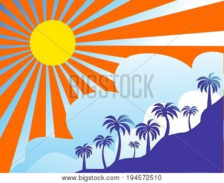 Summer color background with palm trees illustration