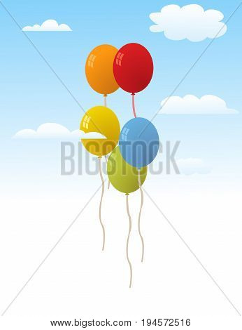 Balloons for party illustration with sky and clouds