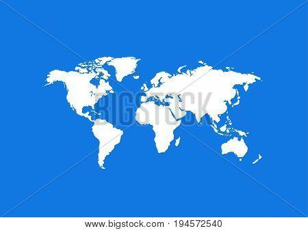 World map illustration art on blue background