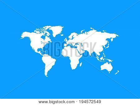 World map vector illustration on blue background