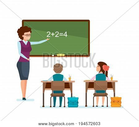 Modern education in school. Teacher tells school material to the students, explains the Iessons in classroom, the students write down the information. Vector illustration isolated in cartoon style.