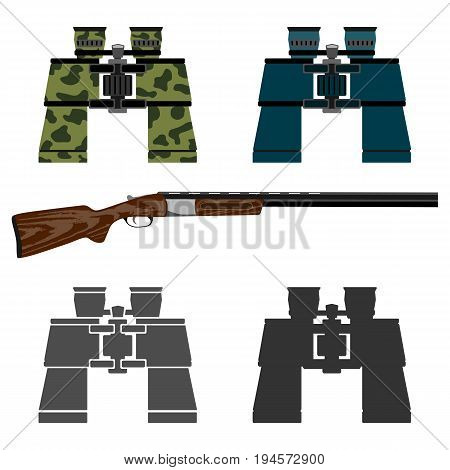Rifle for hunting and a set of binoculars. Isolated on white background.