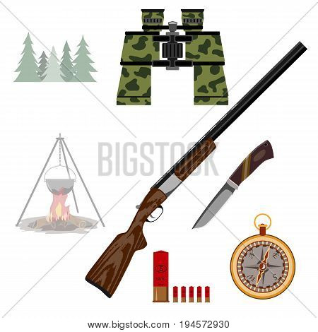 A rifle for hunting binoculars, a knife, a compass, a bonfire and a bowler hat, cartridges. . Isolated on white background.