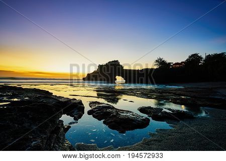 Tanah Lot Or Hindu Temple View In Evening Time After Sunset