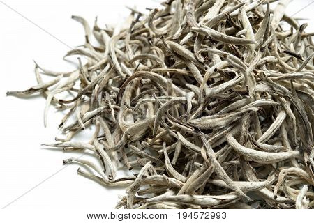 White tea on white background. Top view. Close up. High resolution