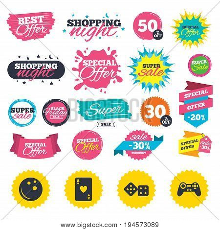 Sale shopping banners. Bowling and Casino icons. Video game joystick and playing card with dice symbols. Entertainment signs. Web badges, splash and stickers. Best offer. Vector