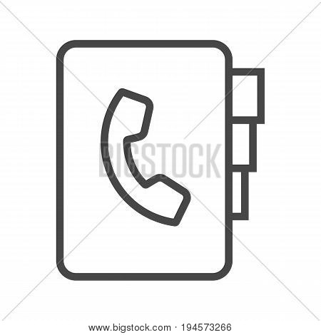 Contact Book Thin Line Vector Icon. Flat icon isolated on the white background. Editable EPS file. Vector illustration.