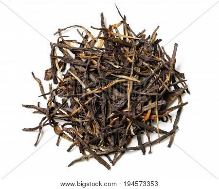 Black tea on white background. Top view. Close up. High resolution