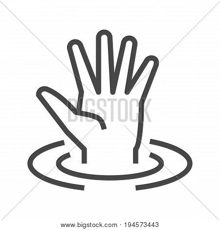 Drowning Victim Thin Line Vector Icon. Flat icon isolated on the white background. Editable EPS file. Vector illustration.