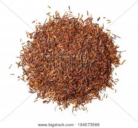 Rooibos tea on white background. Top view. Close up. High resolution
