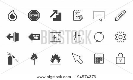 Fire safety, emergency icons. Fire extinguisher, exit and stop signs. Elevator, water drop and match symbols. Chat, Report and Calendar line signs. Service, Pencil and Locker icons. Vector