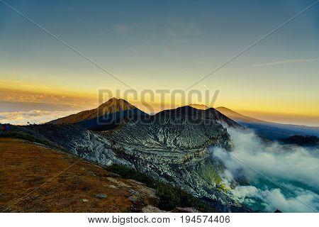 Beautiful Golden Sky Above Mountain Before Sunrise Is Kawah Ijen Landscape View Indonesia